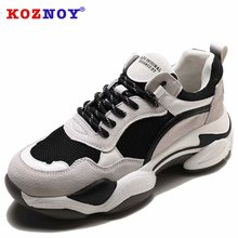 Koznoy Sneakers Women Spring Autumn Muffin Bottom Dropshipping Fashion Thick Breathable Patchwork Leisure Shoes