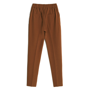 Image 5 - Pantalones harén informales para mujer, pantalón holgado hasta el tobillo, clásico, con cintura elástica, color negro, Camel y Beige, para primavera y verano