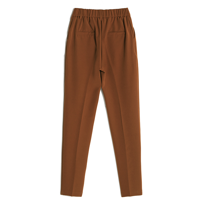 Image 5 - Women's Casual Harem pants Spring Summer Fashion Loose Ankle length Trousers Female Classic High Elastic Waist Black Camel Beige-in Pants & Capris from Women's Clothing