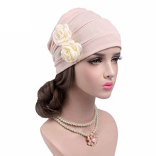c86eac91058da Fashion 3D Double Flowers Beanies Cancer Chemo Cap Head Wrap for Women Girl  Sleep Turban Scarf Casual Caps Knitted Hat