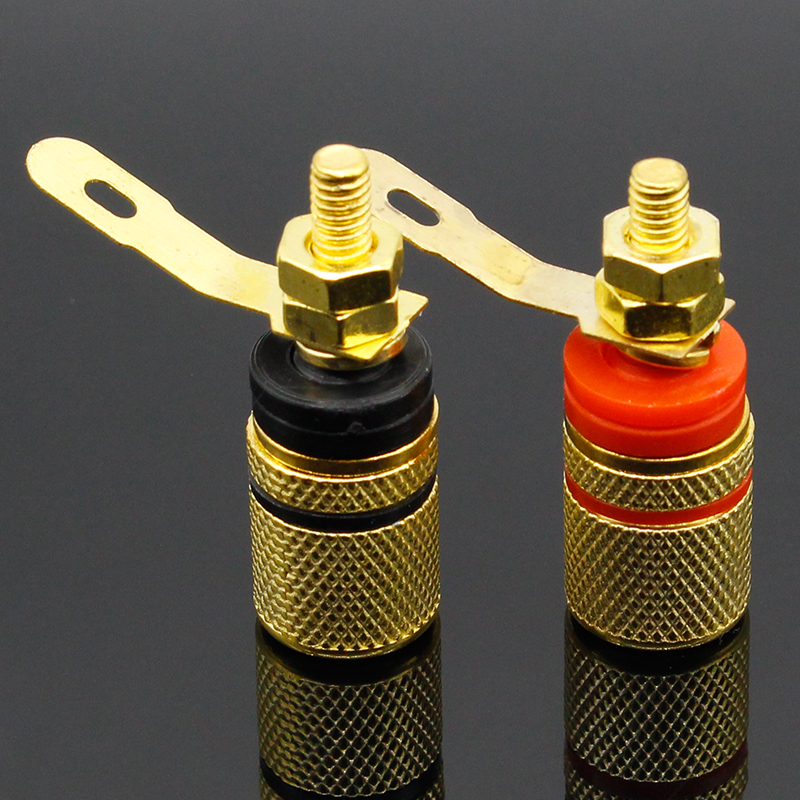 2pcs Gold Plated Amplifier Speaker Terminal Binding Post Banana Plug Socket Connector Suitable For 4mm Banana Plugs