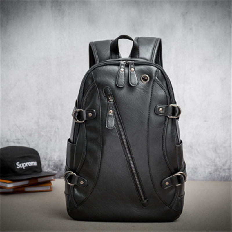 NIBESSER High Quality Practical PU Leather Mens Backpack Travel Organizer Men Laptop Backpack Black School Bag Travel Backpack