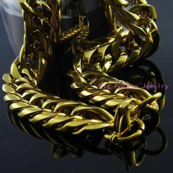 כבד ענק 16/20mm צהוב זהב טון לרסן קובני קישור שרשרת נירוסטה שרשרת/צמיד אופנוען Mens מתנה 7-40 אינץ מותאם אישית גודל