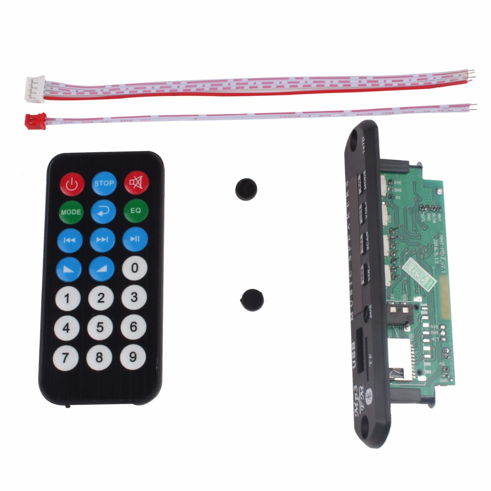 12V Wireless Speaker Bluetooth MP3 WMA Decoder Board Audio Module USB TF Radio For Car Black Color With Controller