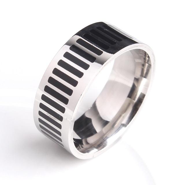 8mm Black Piano Keys 316l Stainless Steel Wedding Rings For Men Women Whole