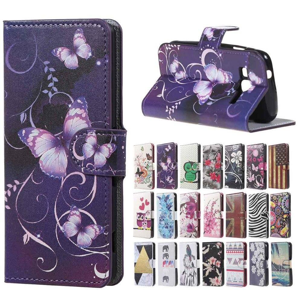 for Galaxy J1 Mini Prime case Purple butterfly cartoon Leather Wallet cover case sfor Samsung Galaxy J1 Mini Prim copue capa ...
