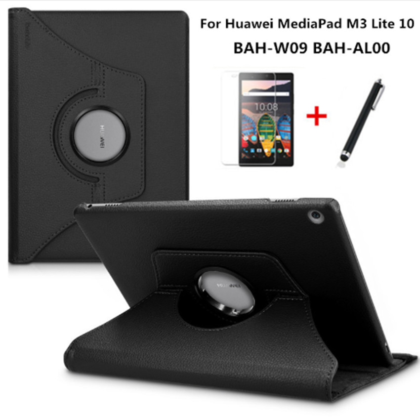 360 Degree Rotating Litchi Stand PU Leather Case For Huawei Mediapad M3 Lite 10 BAH-W09 BAH-AL00 Tablet Smart Cover+Film+Pen