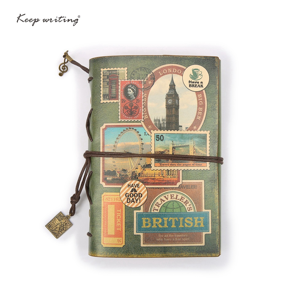 купить A6 traveler's Notebook Vintage journal Retro Notepad Kraft paper Cute Stationery European PU Leather Cover DIY Diary Travel недорого
