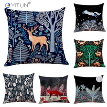 YITUN 45*45 Scenic Cushion Cover North Euro Animal Throw Pillow Cover Woven SquareCushion Sham Print Pillow Cover  Decor Sofa animal print pillow cover