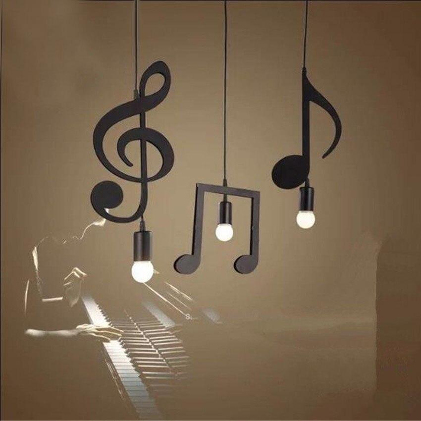 Lampe de pendentif LED de Note de musique moderne lampe suspendue en fer noir pour Bar Restaurant salle d'étude lampes suspendues industrielles