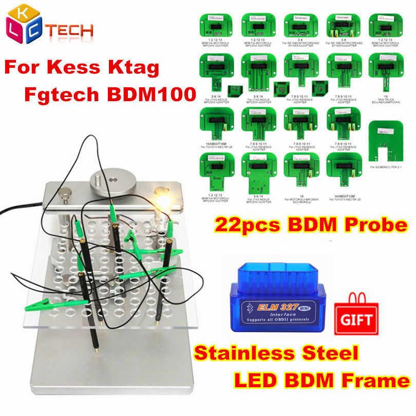 Metal LED BDM marco de acero inoxidable 2IN1 22 Uds adaptadores de sonda BDM soporte de programación para KESS V2 KTAG FGTECH Tuning Tool