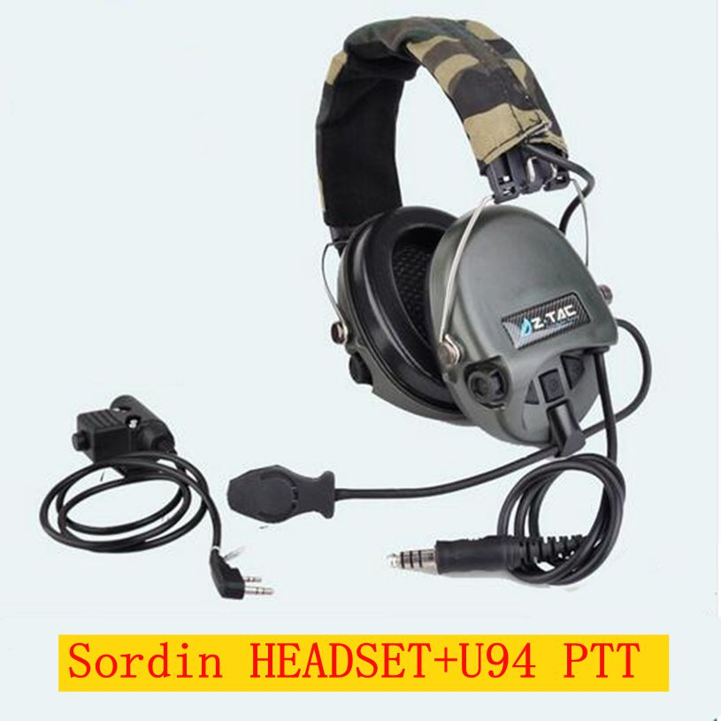 New ZTAC Military Softair Sordin Earphones Hunting Ear Protection With Z Tactical PTT Phone Midland Kenwood