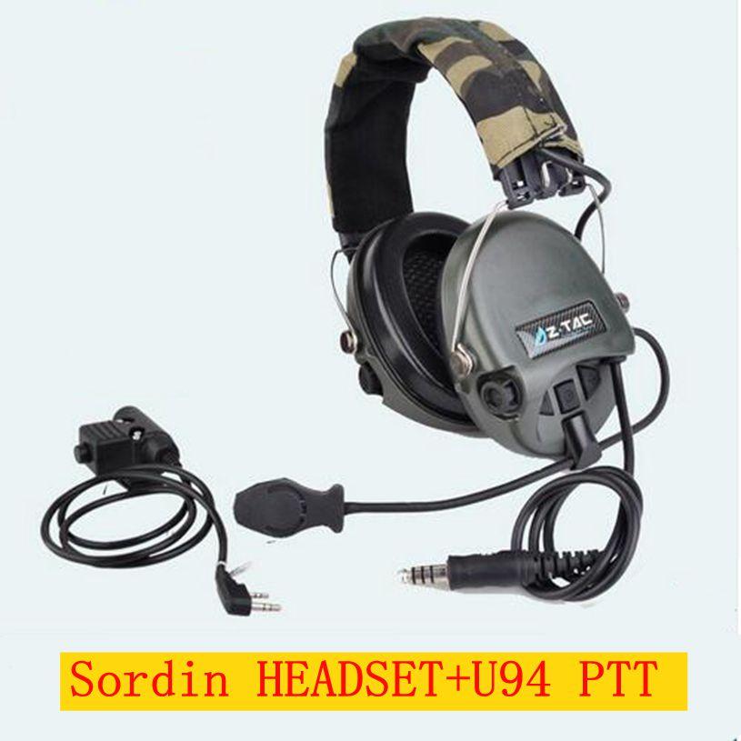 Nouveau ZTAC Militaire Softair Sordin Écouteurs Chasse Oreille Protection Avec Z Tactique PTT Téléphone Midland Kenwood U94 PTT Z111 FG z113