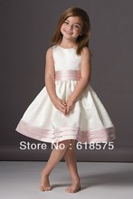 46248 A Line Scoop Sleeveless Knee Length White with Pink Cute Bridesmaid Dresses