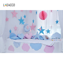 Laeacco Stars Moon Model Pillow Baby Newborn Party Photography Backgrounds Customized Photographic Backdrops For Photo Studio