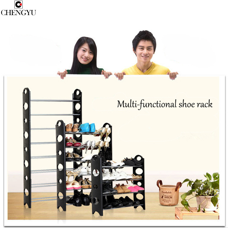 Multi-layer simple combination shoe rack shelf for shoes with side panels assembled free removable chair