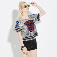 2016 Vogue Ladies Clothing Silver Gold Blue Red T Shirt Loose Short Sleeve Sequin Crop Tops