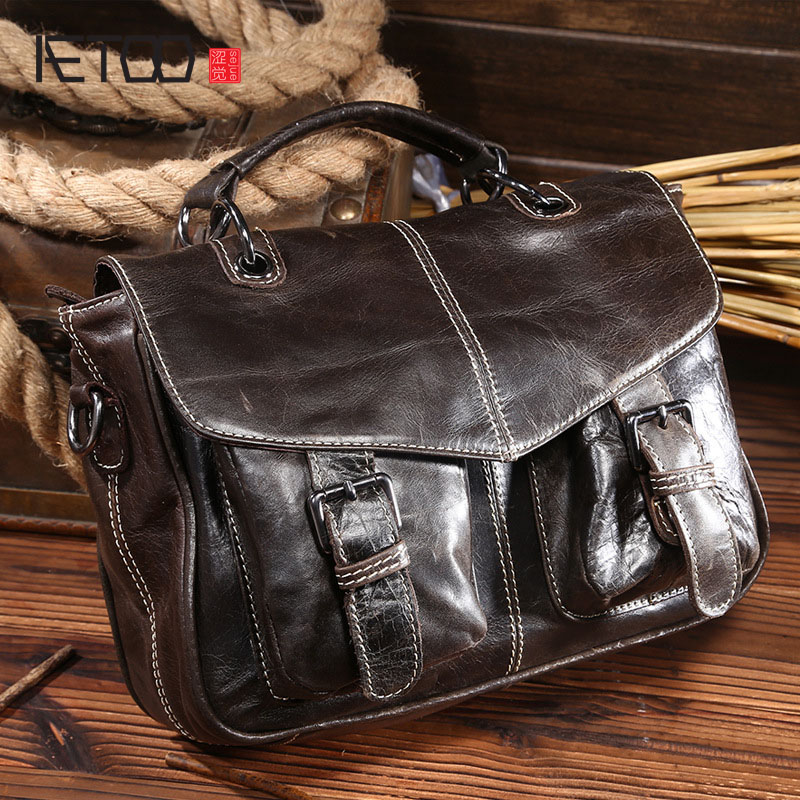 AETOO new vintage head layer Cowhide Leather Tote women oil wax leather messenger bags 100% genuine leather aetoo 2017 new 100