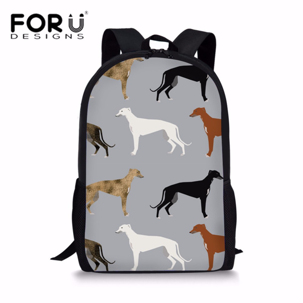 FORUDESIGNS Cute Kids Greyhounds Rescue Dog 3D Printing School Bags for Teenagers Shoulder Backpack Softback Students Bookbag