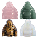 "New High Quality 1pc Hand Carved Gemstone Happy Buddha Statue Figurine 2"" With Gift Box Natural Stone Carved Buddha 4 Colors"