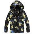 Escudo de los nuevos niños minion moda chaqueta de los niños ropa de abrigo capa del muchacho de invierno de dibujos animados Con Capucha bebé chaqueta de ropa de abrigo niños