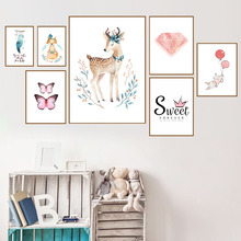 Deer Fox Rabbit Butterfly Quotes Wall Art Canvas Painting Nordic Posters And Prints Animals Pictures Baby Kids Room Decor