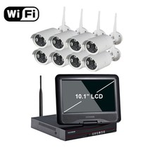 "New arrival 8ch Outdoor Day night security camera system 1080P Real WiFi wireless ip camera NVR kit with 10.1"" LCD Screen"