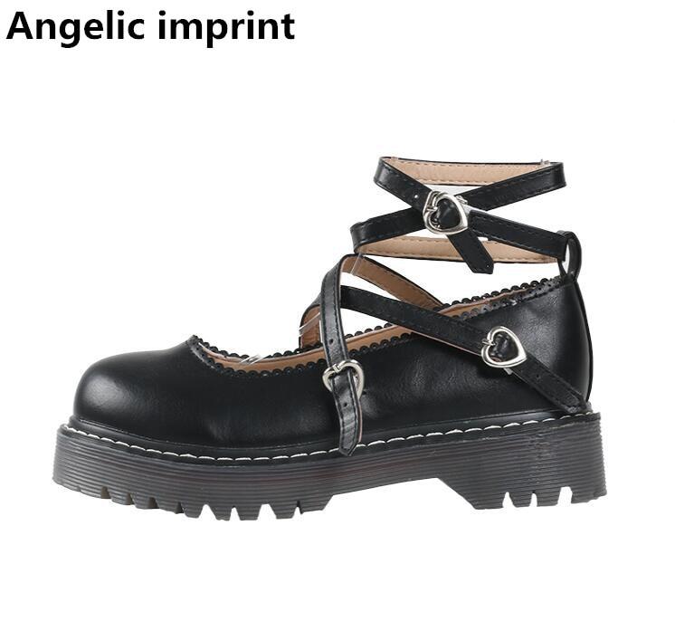 Angelic Imprint Fashion Woman England Shoes Lady Retro Low Heels Pumps Women Princess Dress Party Shoes Trifle Heels Love Hearts