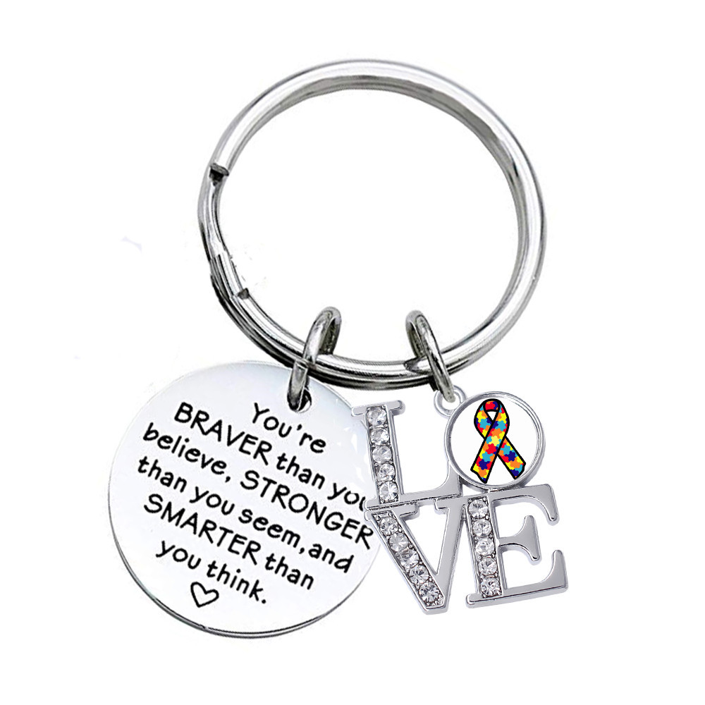 Beautiful Feel Good Positive STRONGER SMARTER BRAVER Keyring Key Chain Bag Charm