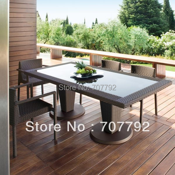 All Weather Outdoor Pe Rattan Dining Table And Chairs China Mainland