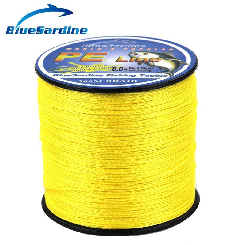 BlueSardine 300M Multifilament PE opletené rybářské vlasce žluté Super silné 4 opletené rybářské dráty 12 - 90LB