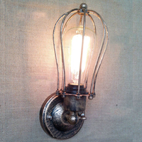American Fashion Vintage DIY Handmade Creative Cage Wall Lights Retro Rustic Country Wall Lamp Antique Iron