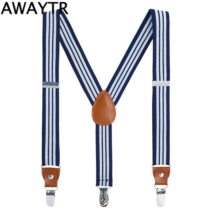 AWAYTR Kids Striped Suspenders Baby Girls 60cm Leather Flexible Strap Clothing Braces 3 Clips-on Trousers Boys Girl Suspender