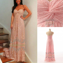 A-Line Sweetheart Neckline Floor Length Lace Bridesmaid Dress with Criss Cross / Ruched