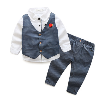 2017 Boys Clothing Sets spring/autumn Children's suit sets boy sets Kids 3pcs/set long sleeve shirts+Vest+pants kids party suit