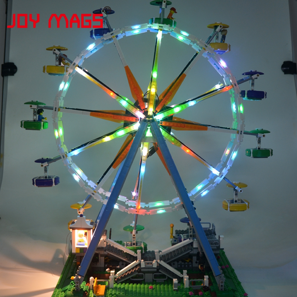 JOY MAGS Only Led light Set Building Blocks Light up kit for City Street Ferris Wheel Light Compatible with Lego 10247 15012 joy mags only led light set building blocks kit light up kit for creator series f40 car compatible with lego 10248 21004