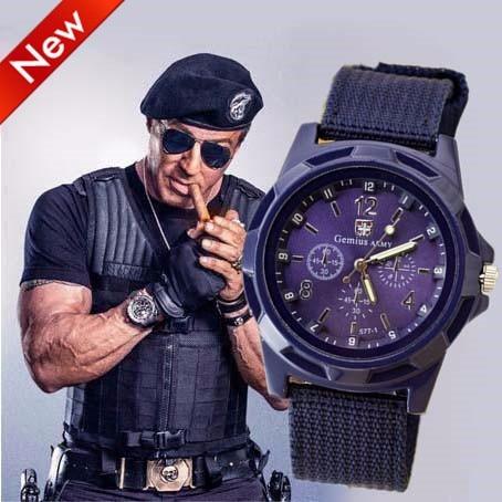 Relogio 2017 Nuevo Ejército Militar Soldado Lienzo Reloj de Cuarzo - Relojes para hombres - foto 5