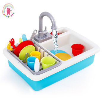 Children DIY Simulated Electroni Kitchen Flume Toy True Flow Faucet Color Mini Simulated Cleaning Tableware Set Washing Toy Gift