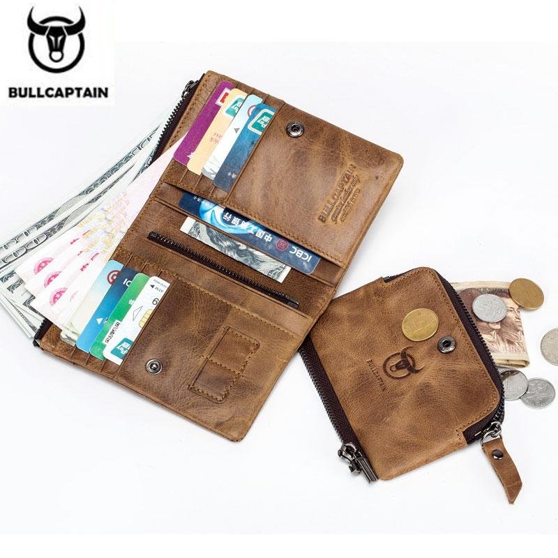BULLCAPTAIN Genuine Cowhide  Men Wallet Short Coin Purse Small Vintage Wallet Brand High Quality Designer New Short Wallet 013