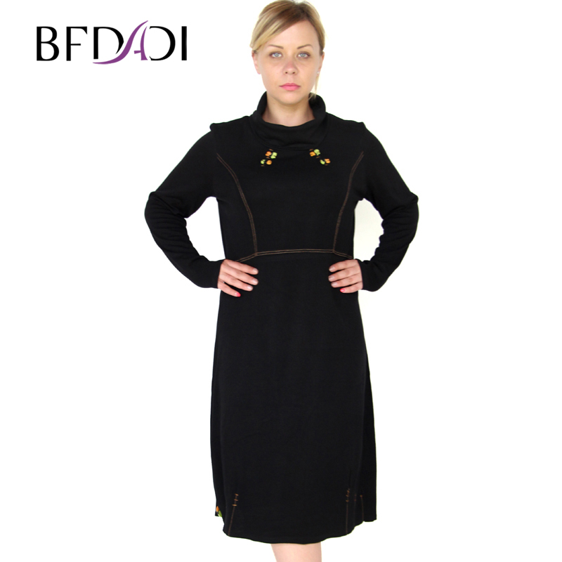 BFDADI 2016 Fashion Women Knitted High Collar Long Sleeve Loose Dress New Casual Autumn-Winter Dress Large Size 6xl 9-6212 bfdadi 2018 new arrival hat genuine