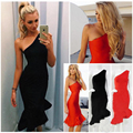 2016 Fashion Summer Women dress oblique sleeveless sexy fishtail dress evening party dresses slim Hip vestidos