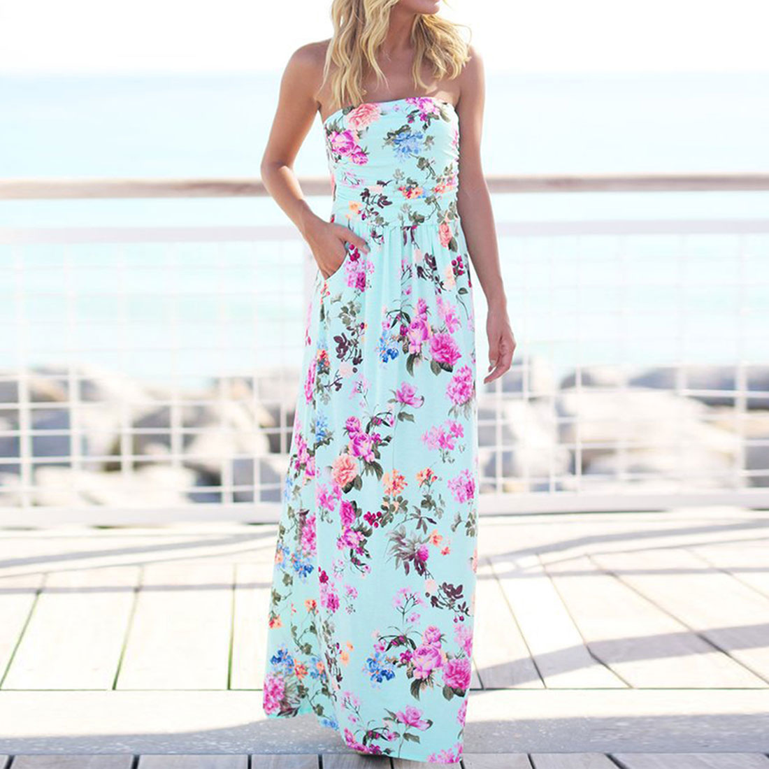 Charming Women Fashion Summer Beach Bohemian Boho Long Dress Strapless Shoulder Off Floral Printed Maxi Dress