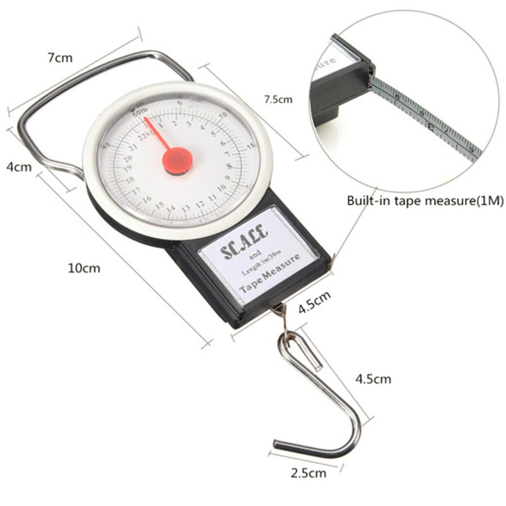 a60ee8805f16 22kg Portable Hanging Scale Balance Fish Hook Said Weighing Balance Kitchen  With Measuring Tape Measure Fishing Scales