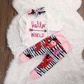 3 шт. 2017 Зима девушка новорожденный одежда набор новорожденного мальчика Детская одежда новорожденных девочек kleding Ползунки + Леггинсы брюк наряды