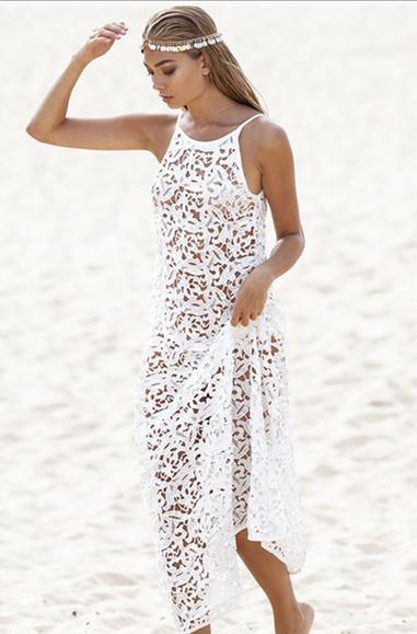 2015 Vintage Long White Crochet Dress Cover Up Overall Plus Size In
