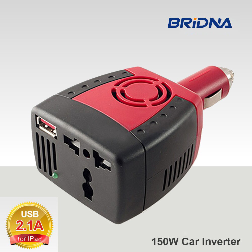 BRIDNA new 150W Car Power Inverter 12V DC to 220V/110V AC converter Adapter with Cigarette Lighter and USB 2.1A/0.5A For Laptop universal zinc alloy 500w dc to ac power inverter w car lighter silver