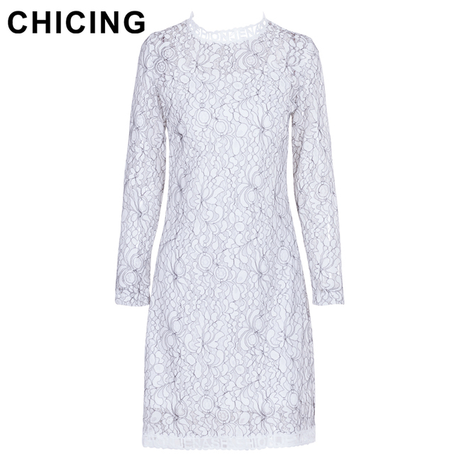 e149b9cd8adac US $16.79 |CHICING High Street Lace Patchwork Floral Pattern Dress Women  2018 Fashion Knee Length O Neck Long Sleeve Dress Vestido A1709011-in  Dresses ...