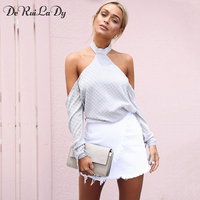 DeRuiLaDy Women Summer Sexy Off Shoulder T Shirt Halter Long Sleeve Backless T Shirts Casual White
