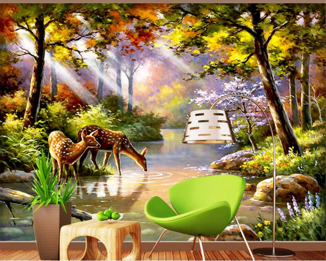 Custom Wallpaper European Style Oil Painting High Quality Personality Beautiful Forest Deer Landscape 3d Beibehang