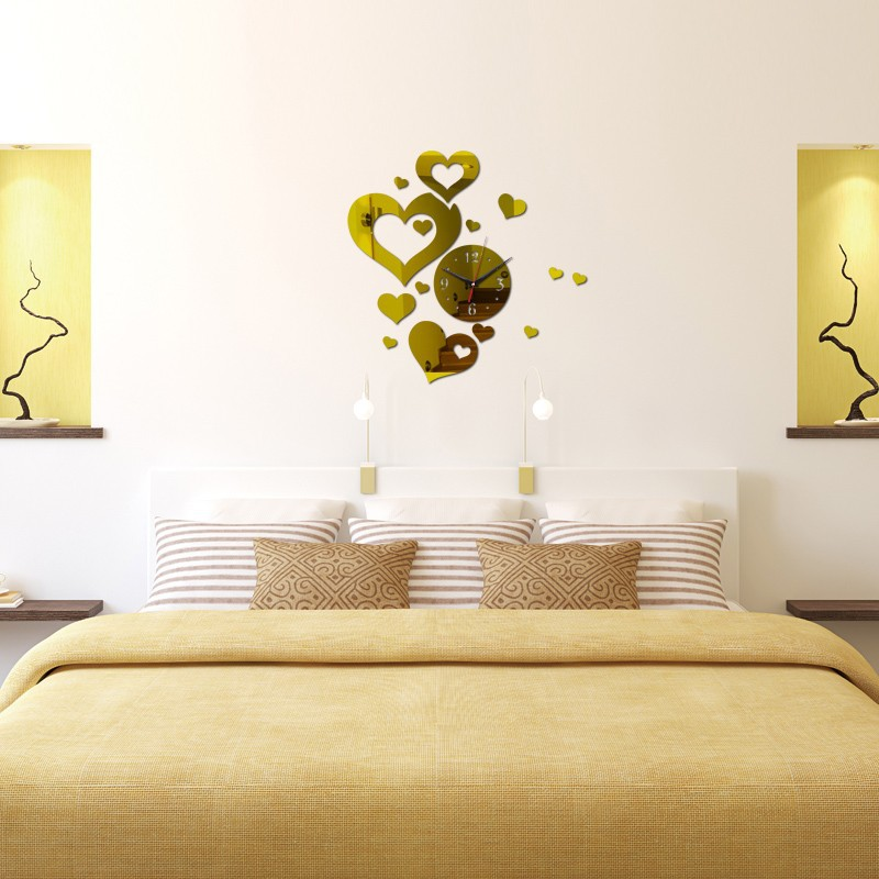 2017 New Promotion Large Acrylic Frameless Wall Clock Heart DIY ...